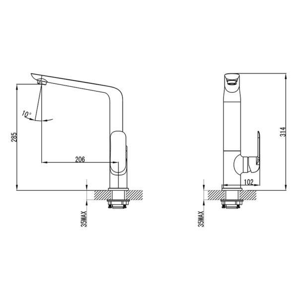 IKON HYB11-101MB-R KARA Sink Mixer – Matte Black/Rose Gold (schematic)