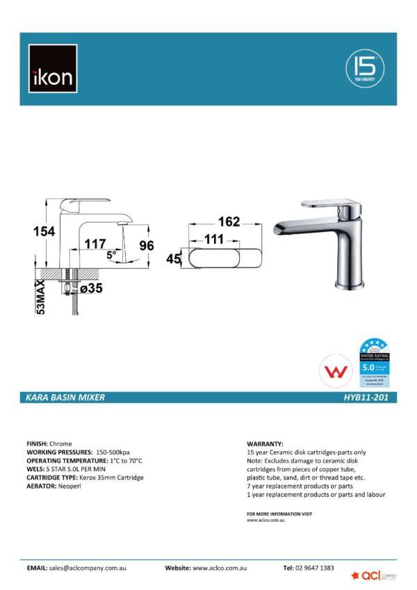 IKON HYB11-201 KARA Basin Mixer Chrome (details)
