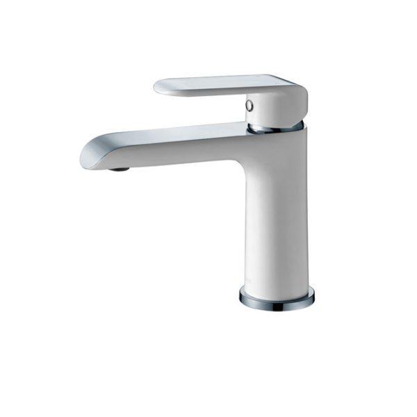 IKON HYB11-201CW KARA Basin Mixer – White & Chrome