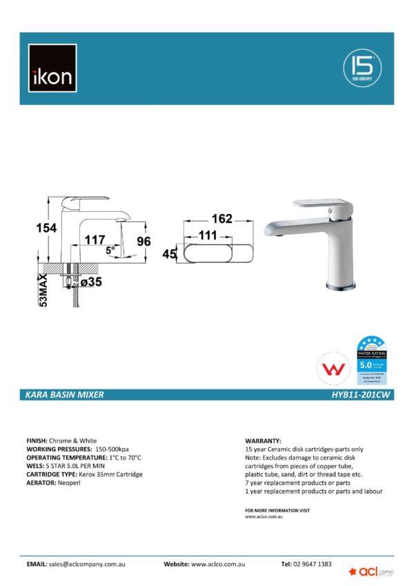 IKON HYB11-201CW KARA Basin Mixer – White & Chrome (details)