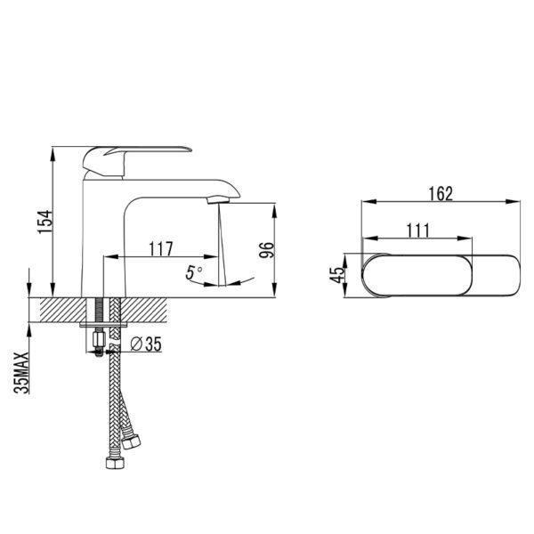IKON HYB11-201CW KARA Basin Mixer – White & Chrome (schematic)