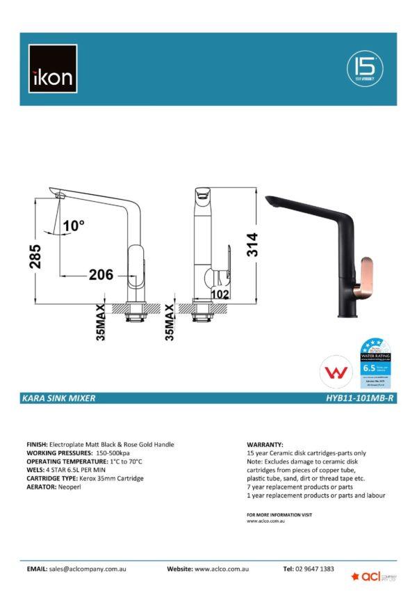 IKON HYB11-201MB-R KARA Basin Mixer – Matte Black/Rose Gold (details)