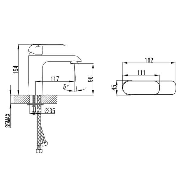IKON HYB11-201MB-R KARA Basin Mixer – Matte Black/Rose Gold (schematic)