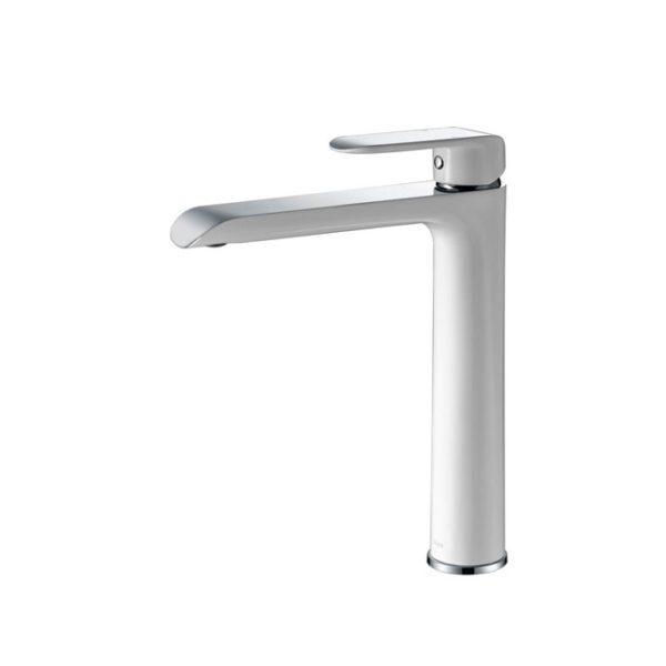 IKON HYB11-202CW KARA High Rise Basin Mixer – White & Chrome