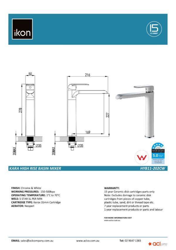 IKON HYB11-202CW KARA High Rise Basin Mixer – White & Chrome (details)
