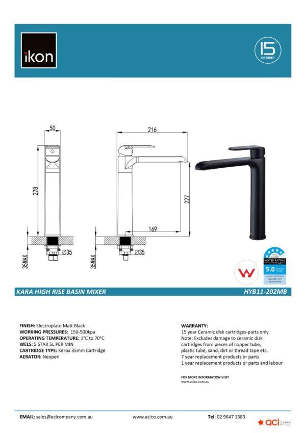 IKON HYB11-202MB KARA High Rise Basin Mixer – Matte Black (detail)