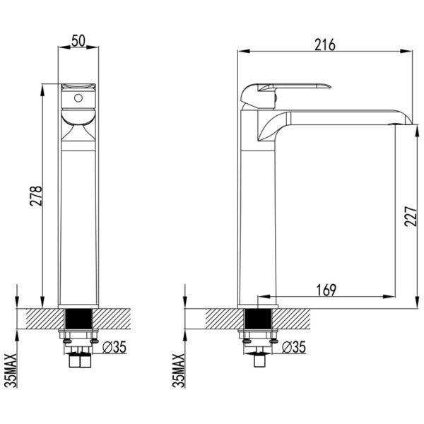 IKON HYB11-202MB KARA High Rise Basin Mixer – Matte Black (schematic)