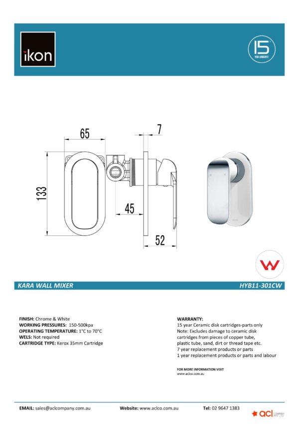 IKON HYB11-301CW KARA Wall Mixer- White & Chrome (details)