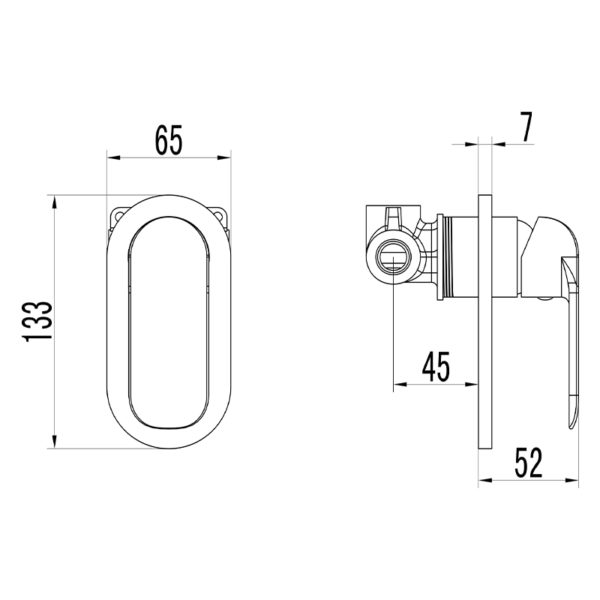 IKON HYB11-301CW KARA Wall Mixer- White & Chrome (schematic)