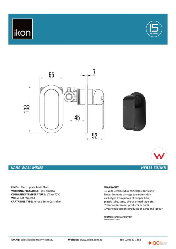 IKON HYB11-301MB KARA Wall Mixer – Matte Black (details)