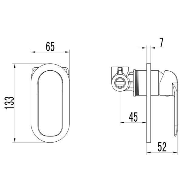 IKON HYB11-301MB KARA Wall Mixer – Matte Black (schematic)