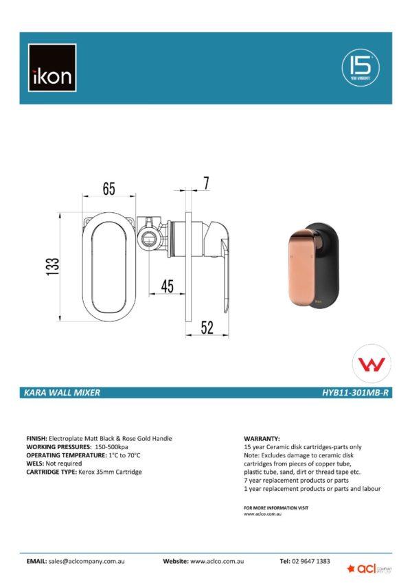 IKON HYB11-301MB-R KARA Wall Mixer – Matte Black/Rose Gold (details)
