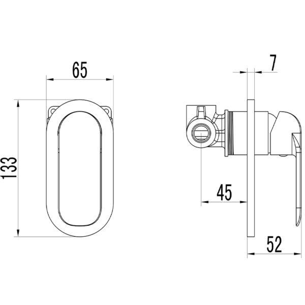 IKON HYB11-301MB-R KARA Wall Mixer – Matte Black/Rose Gold (schematic)