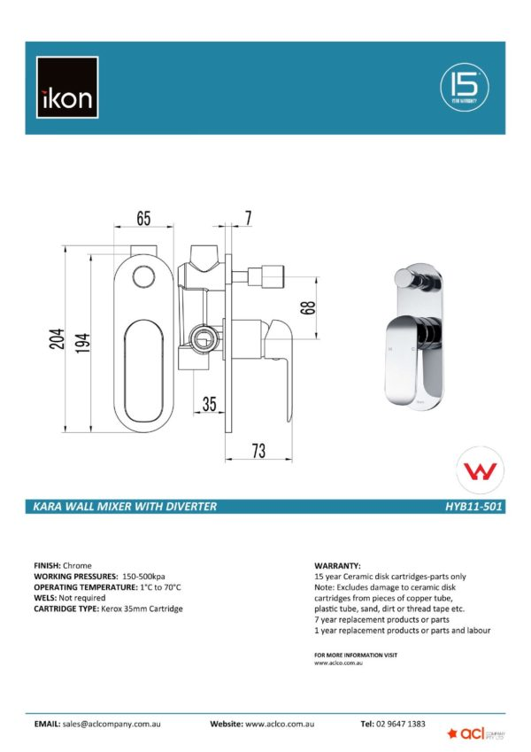 IKON HYB11-501 KARA Diverter Wall Mixer Chrome (details)