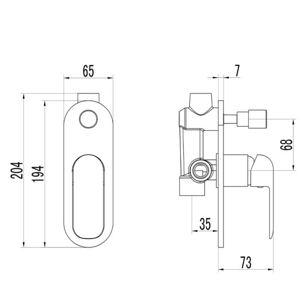 IKON HYB11-501 KARA Diverter Wall Mixer Chrome (schematic)