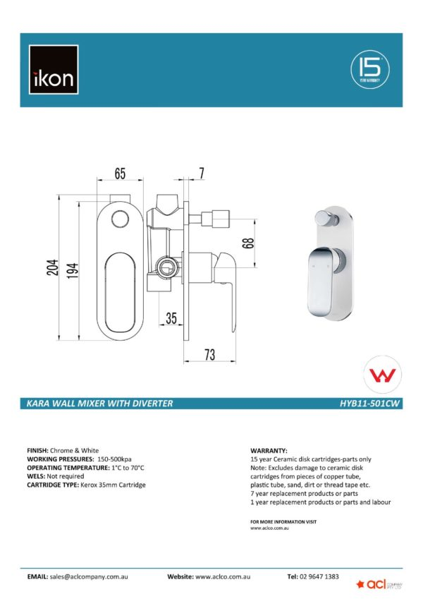 IKON HYB11-501CW KARA Diverter Wall Mixer – White & Chrome (details)