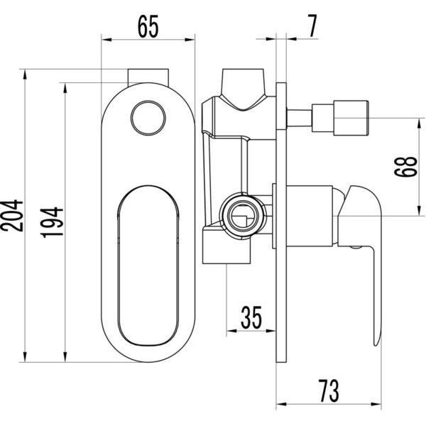 IKON HYB11-501CW KARA Diverter Wall Mixer – White & Chrome (schematic)