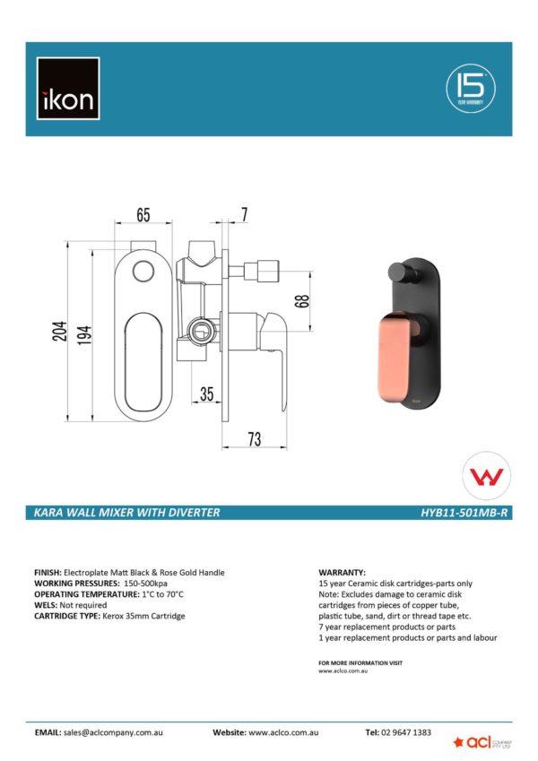IKON HYB11-501MB-R KARA Diverter Wall Mixer – Matte Black/Rose Gold (details)