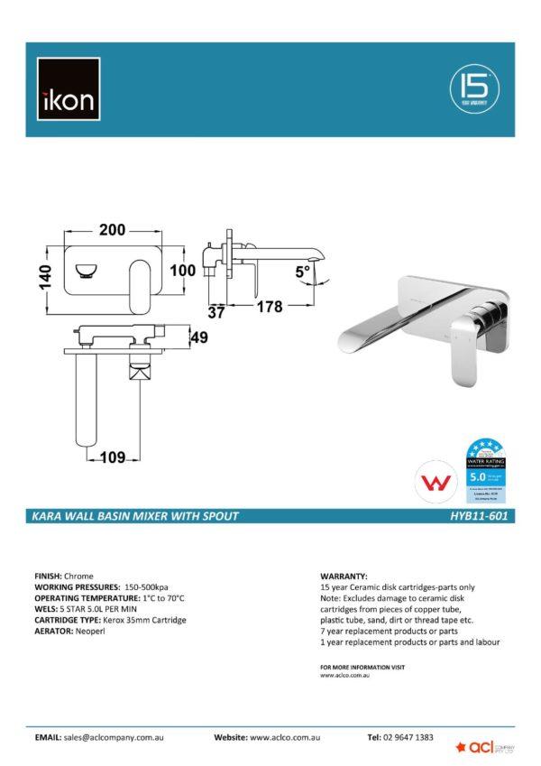 IKON HYB11-601 KARA Wall Basin Mixer with Spout (details)