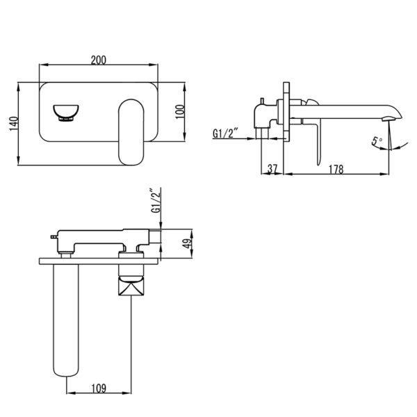 IKON HYB11-601 KARA Wall Basin Mixer with Spout (schematic)