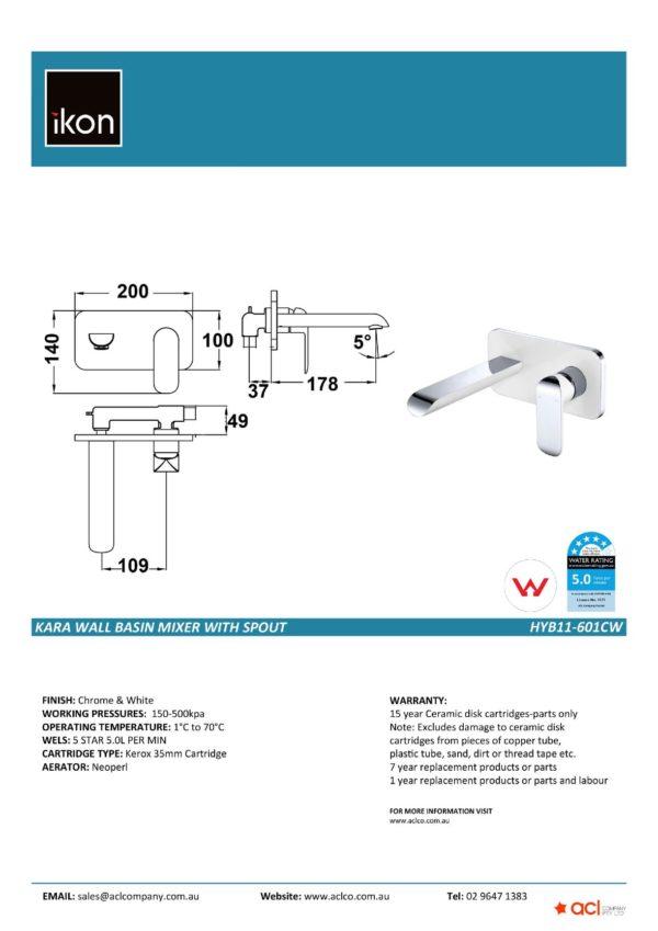IKON HYB11-601CW KARA Wall Basin Mixer with Spout- White & Chrome (details)