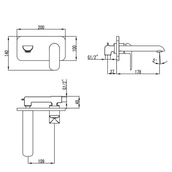 IKON HYB11-601CW KARA Wall Basin Mixer with Spout- White & Chrome (schematic)