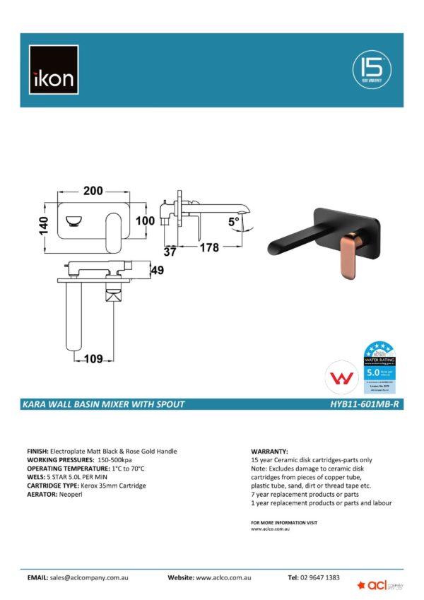 IKON HYB11-601MB-R KARA Wall Basin Mixer with Spout- Matte BlackRose Gold (details)