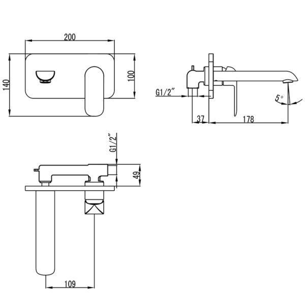 IKON HYB11-601MB-R KARA Wall Basin Mixer with Spout- Matte BlackRose Gold (schematic)