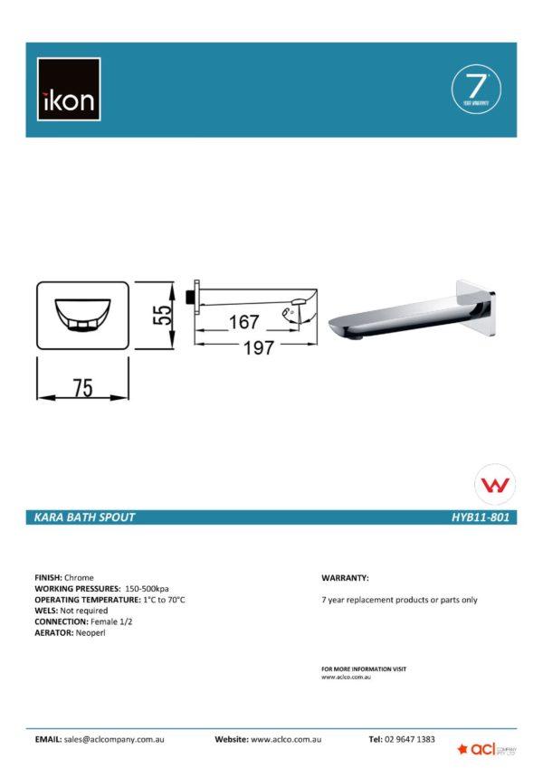 IKON HYB11-801 KARA Bath Spout – Chrome (details)