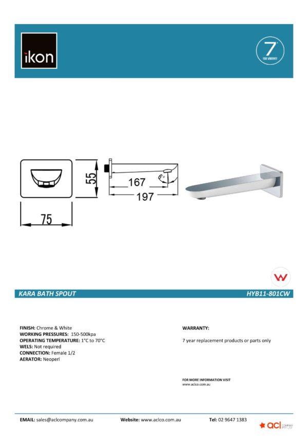 IKON HYB11-801CW KARA Bath Spout- White & Chrome (details)