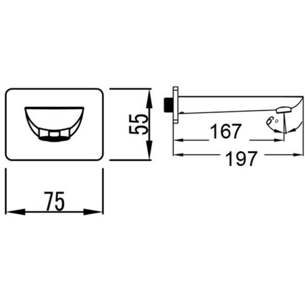 IKON HYB11-801CW KARA Bath Spout- White & Chrome (schematic)