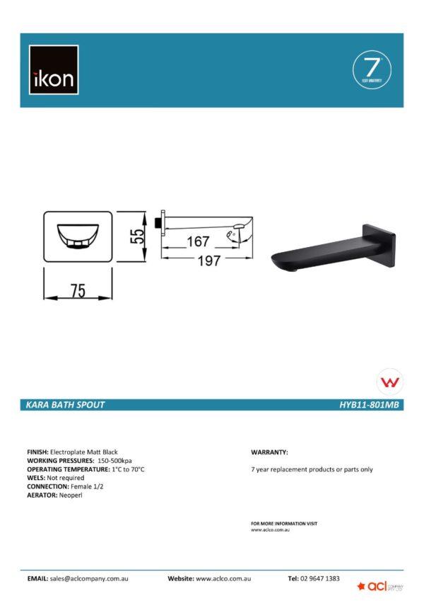 IKON HYB11-801MB KARA Bath Spout – Matte Black (details)