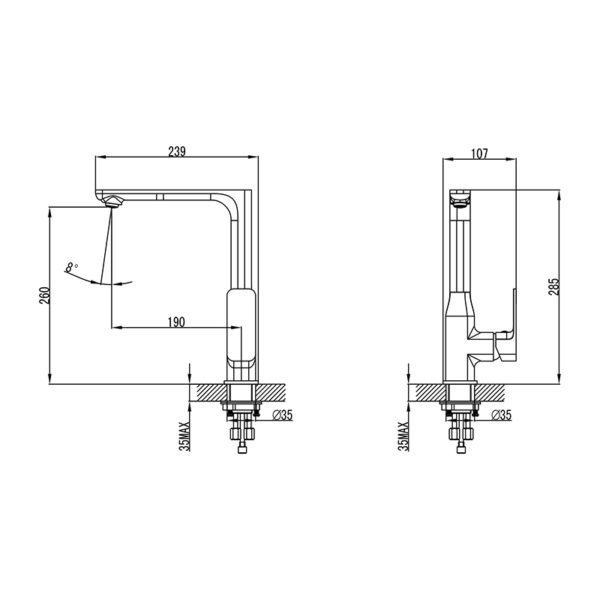 IKON HYB66-101 SETO Sink Mixer – Chrome (schematic)