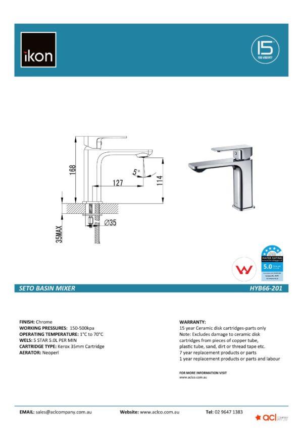 IKON HYB66-201 SETO Basin Mixer – Chrome (details)
