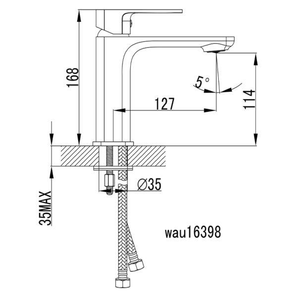 IKON HYB66-201 SETO Basin Mixer – Chrome (schematic)