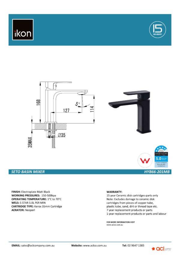 IKON HYB66-201MB SETO Basin Mixer – Matte Black (details)