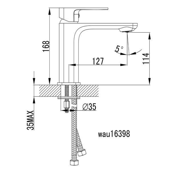 IKON HYB66-201MB SETO Basin Mixer – Matte Black (schematic)
