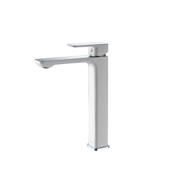 IKON HYB66-202CW SETO High Rise Basin Mixer – White & Chrome