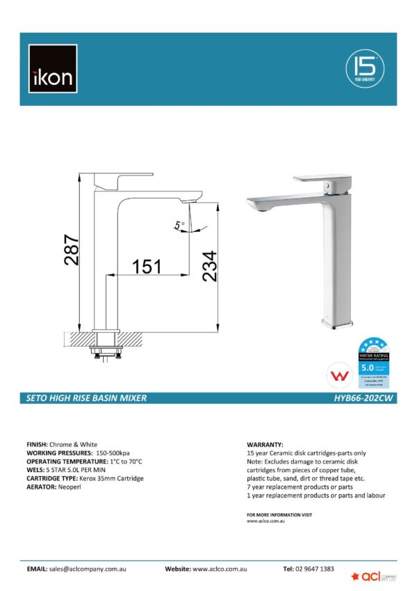IKON HYB66-202CW SETO High Rise Basin Mixer – White & Chrome (details)