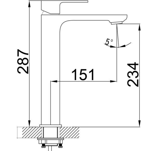 IKON HYB66-202CW SETO High Rise Basin Mixer – White & Chrome (schematic)