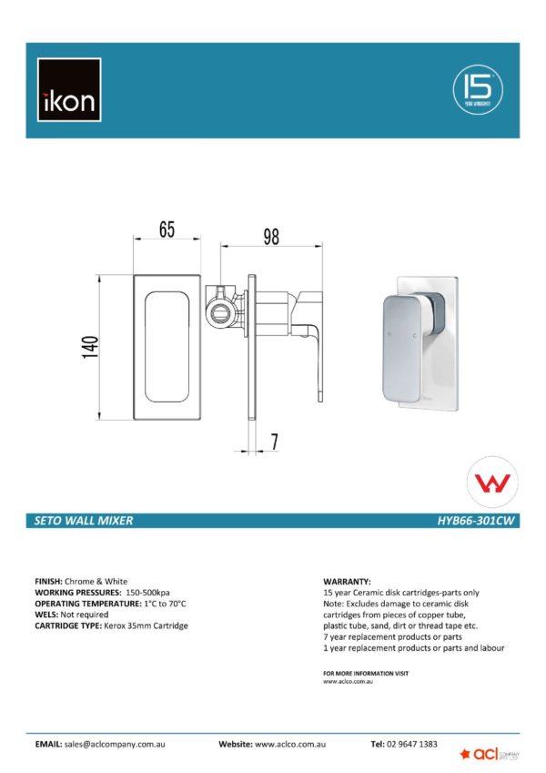 IKON HYB66-301CW SETO Wall Mixer- White & Chrome (details)