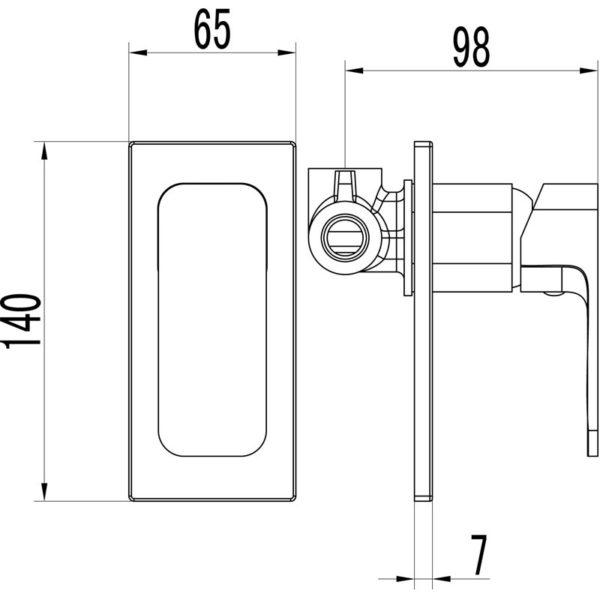 IKON HYB66-301CW SETO Wall Mixer- White & Chrome (schematic)