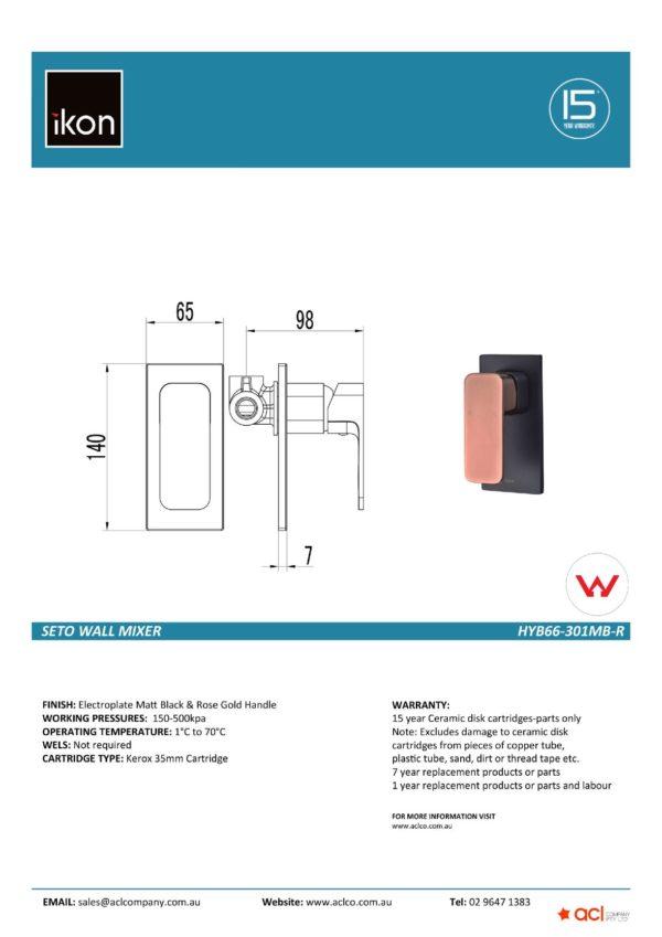 IKON HYB66-301MB-R SETO Wall Mixer – Matte BlackRose Gold (details)