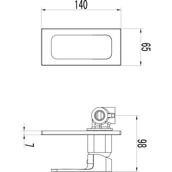 IKON HYB66-301MB-R SETO Wall Mixer – Matte BlackRose Gold (schematic)