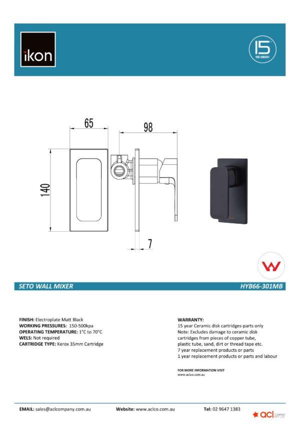 IKON HYB66-301MB SETO Wall Mixer – Matte Black (details)