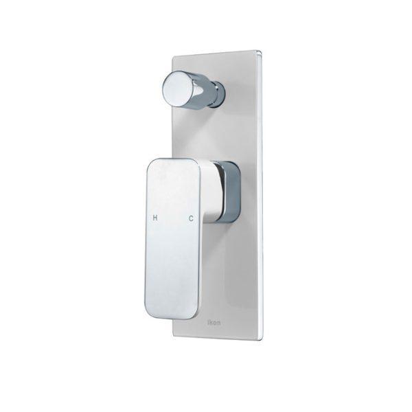 IKON HYB66-501CW SETO Diverter Wall Mixer – White & Chrome