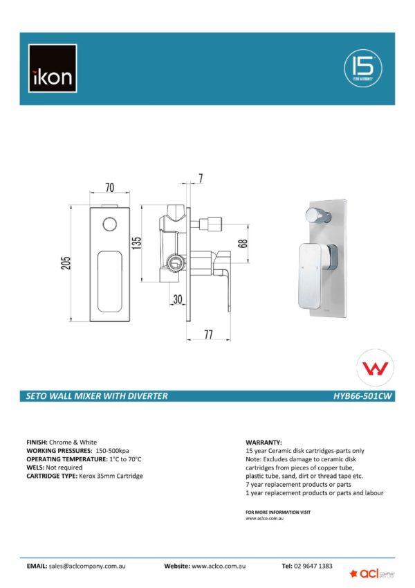 IKON HYB66-501CW SETO Diverter Wall Mixer – White & Chrome (details)