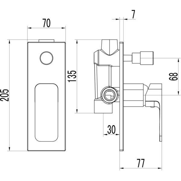 IKON HYB66-501CW SETO Diverter Wall Mixer – White & Chrome (schematic)