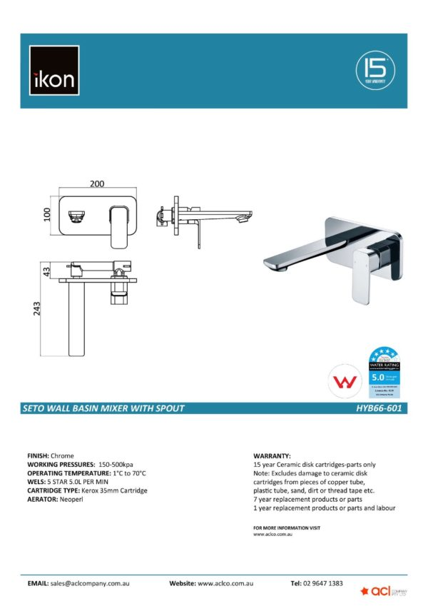 IKON HYB66-601 SETO Wall Basin Mixer with Spout (details)