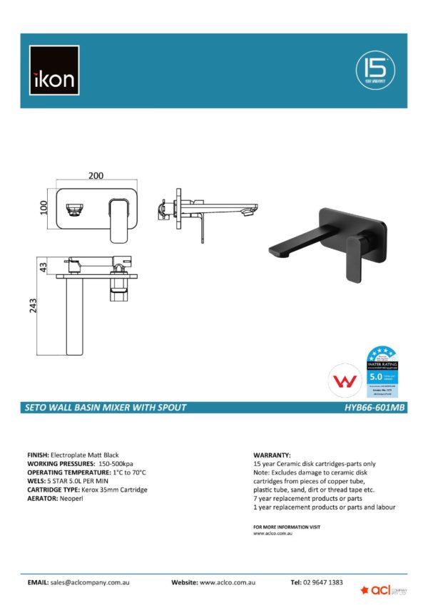 IKON HYB66-601MB SETO Wall Basin Mixer with Spout- Matte Black (details)